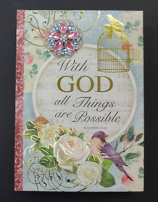 """POOCH & SWEETHEART 128 Page JOURNAL """"With GOD All Things Are Possible"""" Bird Cage"""