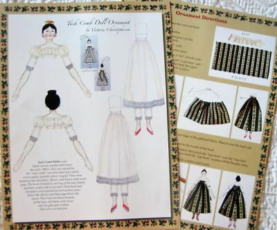 Uncut Orig.Tuck Comb Paper Doll Adapted from Antique Peg Wooden Doll Ornament