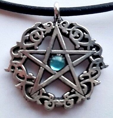 "Aquamarine Colored Celtic Pentacle Pagan 18"" Necklace Crystal Pewter Pendant"