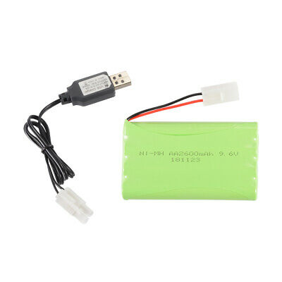 NI-MH 9.6V 2600mAh Rechargeable Battery w/ KET Plug + USB Charger for Toys BC792