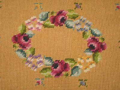 Beautiful Antique Vintage Needlepoint Tapestry Wreaath Rose Flowers Rose Buds