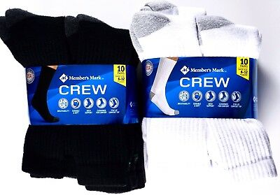 Member's Mark Men's Crew Athletic Socks Made in USA, Shoe Size 6-12, 10 Pairs