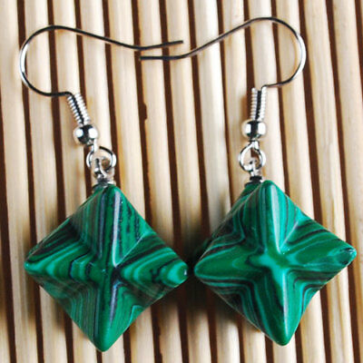 A4187 12x12 Pair K-Gold plated Copper Synthetic Malachite Merkaba Hook Earring
