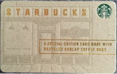 Special Edition Mint 2015 Starbucks Burlap Recycled Coffee Bag Gift Card #6118