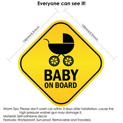 Baby On Board Child Window Bumper Warning Safety Vehicle Car Sign Decal Sticker