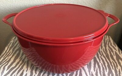 Tupperware Large Thatsa Bowl 42 Cups Red w/ Matching Seal New