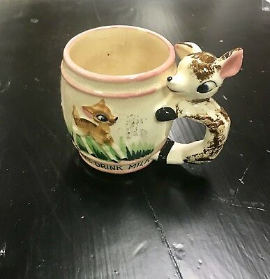 Vintage Drink Your Milk Child's Hand-Painted Cup--1950's