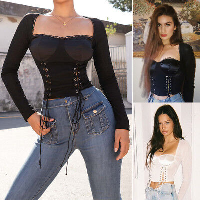Women Vintage Retro Sexy Slim Lace Up Casual Shirt Crop Tops Gothic Punk Blouse