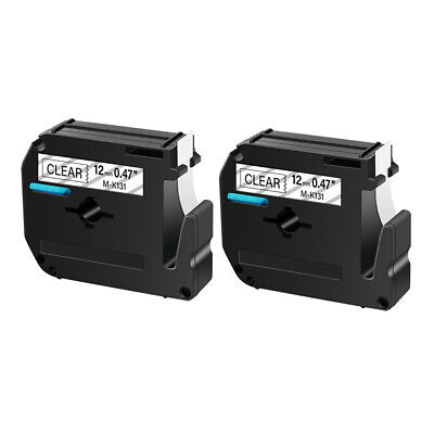 2PK M-K131 MK131 Black on Clear 0.47'' Label Tape For Brother P-Touch PT-70 12mm