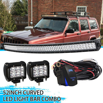 52inch 3000W Curved Cree Led Spot Flood Combo Dual Row Driving Light Bar 50