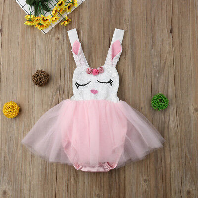 US Infant Baby Girl Cute Rabbit Lace Princess Romper Dress Bow Tutu Party Dress