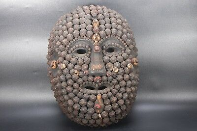 Rudraksha beaded Wooden Wood Mask Art Himalayan Old Tribal Ethnic handmade Nepal