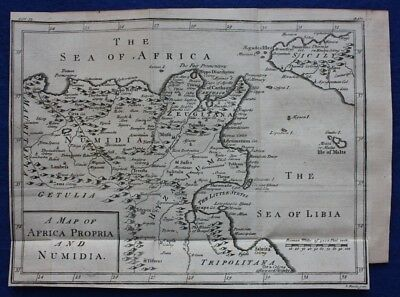 Original antique map AFRICA PROPRIA & NUMIDIA, CARTHAGE, SICILY, Basire 1747