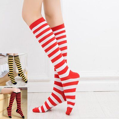 New Women Christmas Stockings Red & White Stripe Knee High Socks Stockings CR