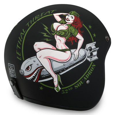 Daytona Low Profile Helmet Bombs Away Custom Open Face Bobber Chopper Biker