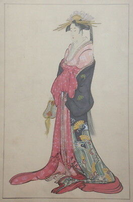 Antique Japanese Painting, maybe Original for Woodblock Print