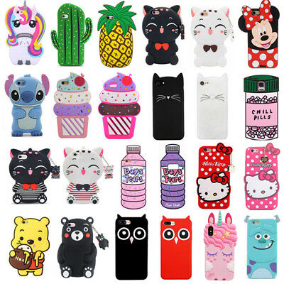 For Samsung Galaxy Note9 Note8  3D Case Cover Cute Cartoon Animals Soft Silicone