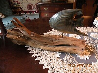 Hand Carved Angelfish Sculpture on Driftwood Figurine