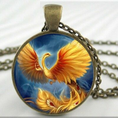 Phoenix Bird Mythology Pendant Necklace Greek Egypt Sun Life Magical Paradise