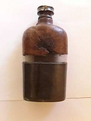 Vintage Whisky Flask very unique Glass Vessel  Bound in Leather and Metal
