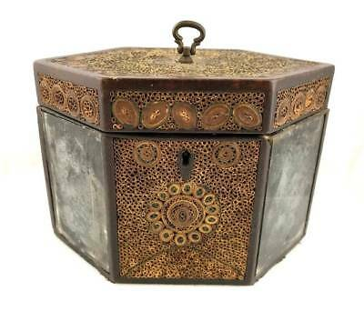 Antique c.1800 English QUILLWORK Rolled Paper TEA CADDY