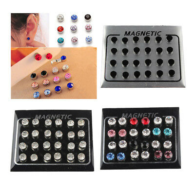 72Pcs Colorful Crystal Non Piercing Clip On Magnetic Magnet Ear Stud Earring