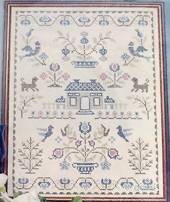 AMERICANA SAMPLER Cross Stitch Kit Stamped Linen Colonial Design Vintage Paragon