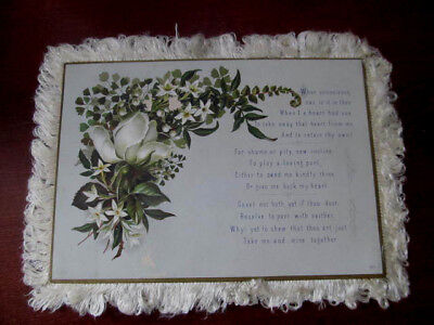 Large Antique Victorian Fringed Card~Litho Card w/Poem Verse 1880s