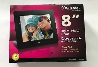"Aluratek Black 8"" Digital Photo Frame NEW"