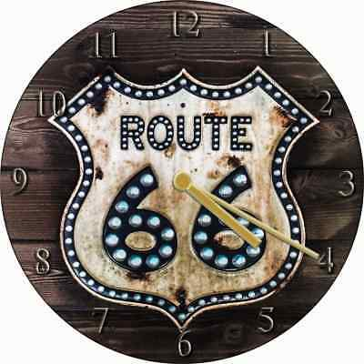 NOVELTY WALL CLOCK - American Diner Route 66 Design (1) - Retro Wall Clock