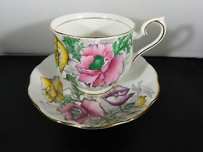 Royal Albert Teacup Cup & Saucer Set Flower of Month Poppy August No. 8