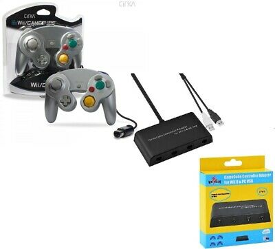 Mayflash GameCube Controller to Wii U Adapter + 1x Silver Game Cube Controller
