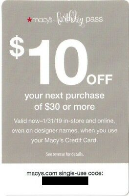 Macy's Star Pass Coupon: $10 Off $30 Online or In Store, Exp 1/31/19 Jan 31 2019