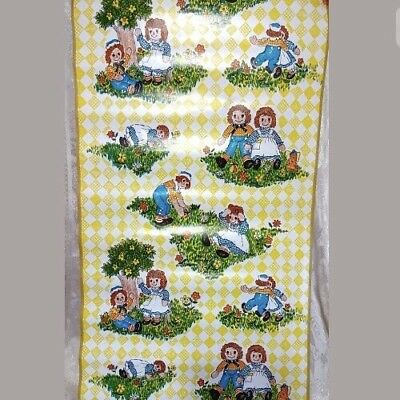 """Vtg 1970's Contact Paper RAGGEDY ANN  ANDY NOS 4 yrds x 18""""  UNUSED bobbs merril"""
