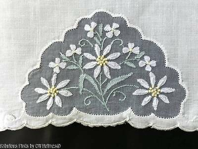 2 Vintage Madeira Embroidered DAISIES LINEN and ORGANDY Hand Towels