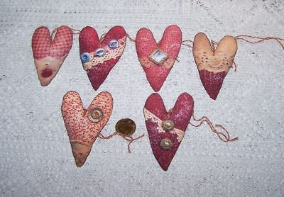 Valentines Day~Primitive~Heart~Linen Cardstock~Gift~Hang~Tags