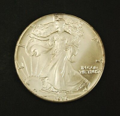 1986 $1 American Eagle Silver Dollar BU - 1 Troy Oz - Toned (A)