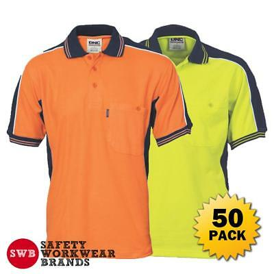 50 x DNC Workwear Mens Hi Vis Poly Cotton Contrast Panel Polo Shirt Safety 3895