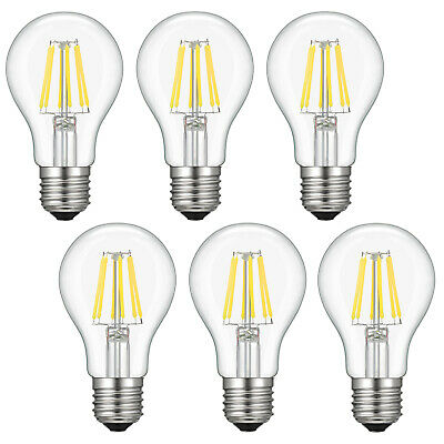 6x 6W A19 Dimmable Edison LED Bulb Vintage Lighting Bulbs 4000K Natural White US