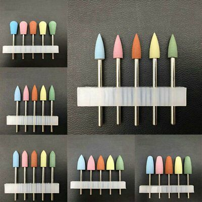 5Pcs Silicone Rubber Nail Art Drill Bit Manicure Pedicure File Tools Set Removal