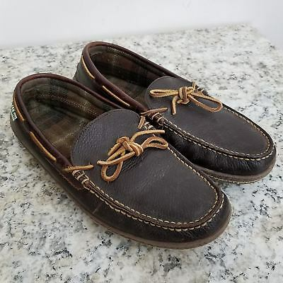 3d10547f09b8e LL Bean Mens Handsewn Slippers Flannel Lined 11 Brown Leather Slip On Moc  Toe