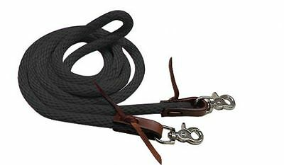 Black 8 Foot Round Nylon Derby Style Roping Barrel Contest Reins w/ Scissor Snap