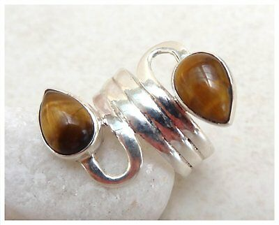 925 Sterling Silver TIGER EYE Semi Precious GEMSTONE RING SIZE N - US 6 3/4