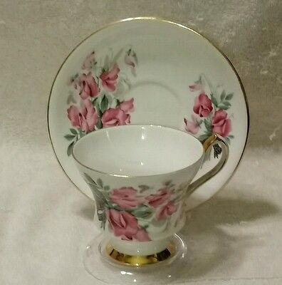 Society Fine Bone China England Pink Roses Footed Tea Cup and Saucer #81707
