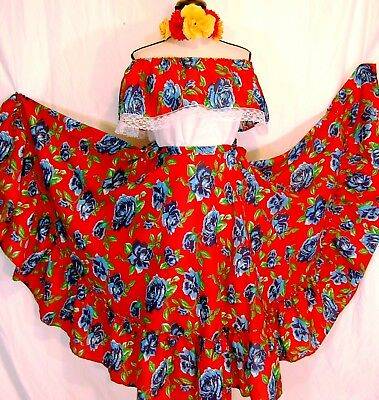 Off Shoulder Mexican Dance Dress Floral Ruffle Fiesta 5 d Mayo Adelita Plus Size