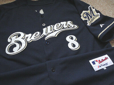 Authentic MLB Majestic Milwaukee Brewers Ryan Braun Jersey Game 52 Baseball