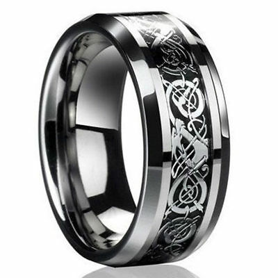 Men's Fashion Celtic Dragon Titanium Stainless Steel Wedding Band Rings Jewelry