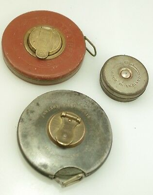 VINTAGE 2x WIND UP MEASURING TAPES W. BRASS HANDLE & 1 OTHER JOHN RABONE & SONS