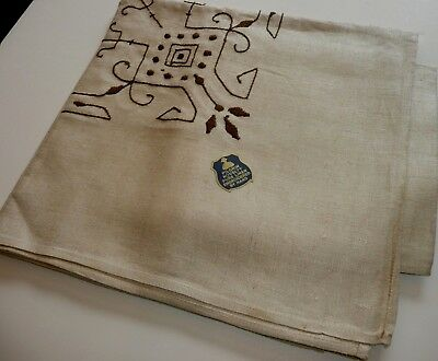Vintage Hand Embroidered Linen Tablecloth & Matching Napkins Pilgrim Novelty New