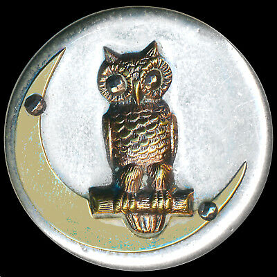 Button---Large Vintage Bright White Metal and Brass Owl on Crescent Moon